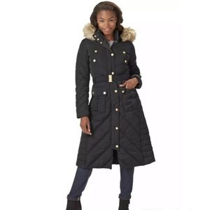 Rocawear Black Hooded Belted Maxi Puffer Coat
